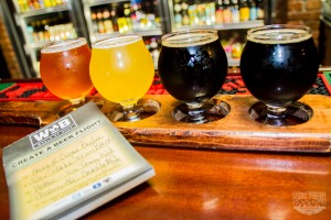 A taster flight of Arizona Craft Beers from World of Beer - Tempe on Mill Avenue.