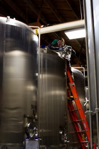 Bret the Brewer dry hops a brew at Four Peaks in Tempe.